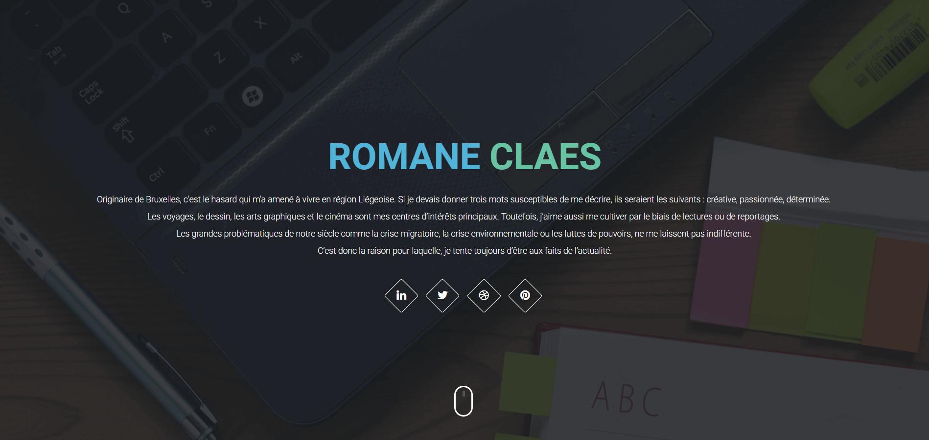 Illustration du site web créé pour Romane Claes