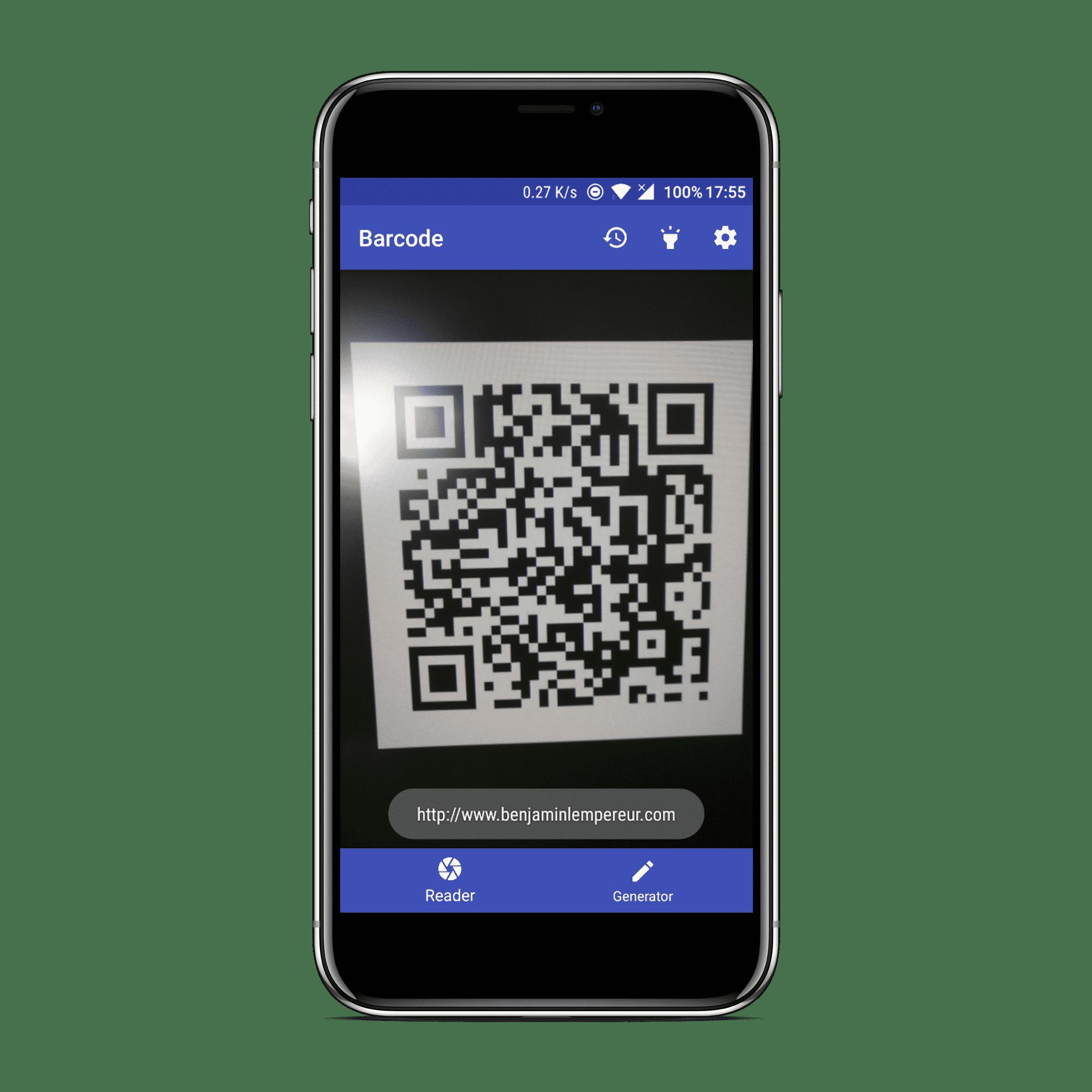 Fonctionnalité de scan de l'application Material Barcode Tools.