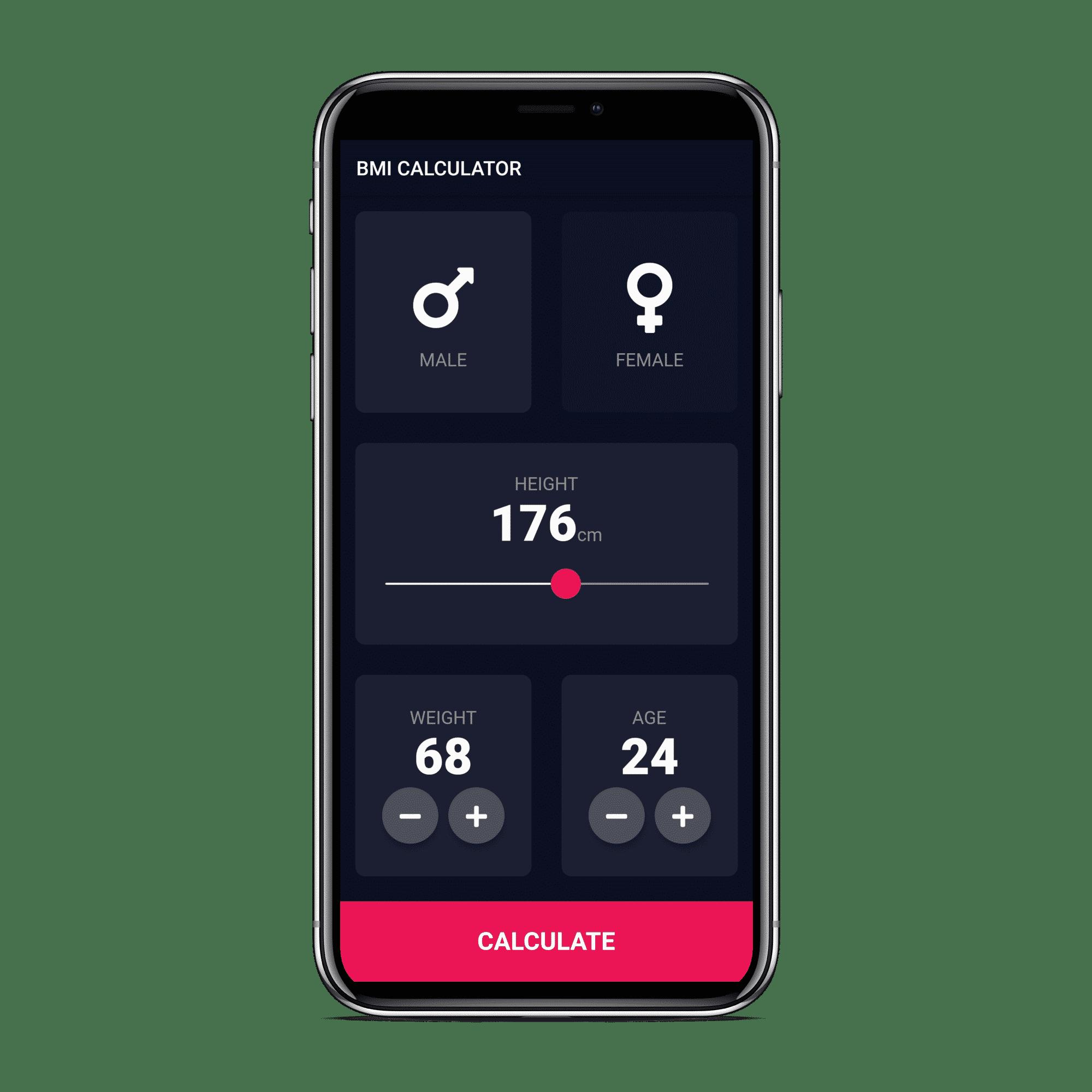 Accueil de l'application développée BMI Calculator