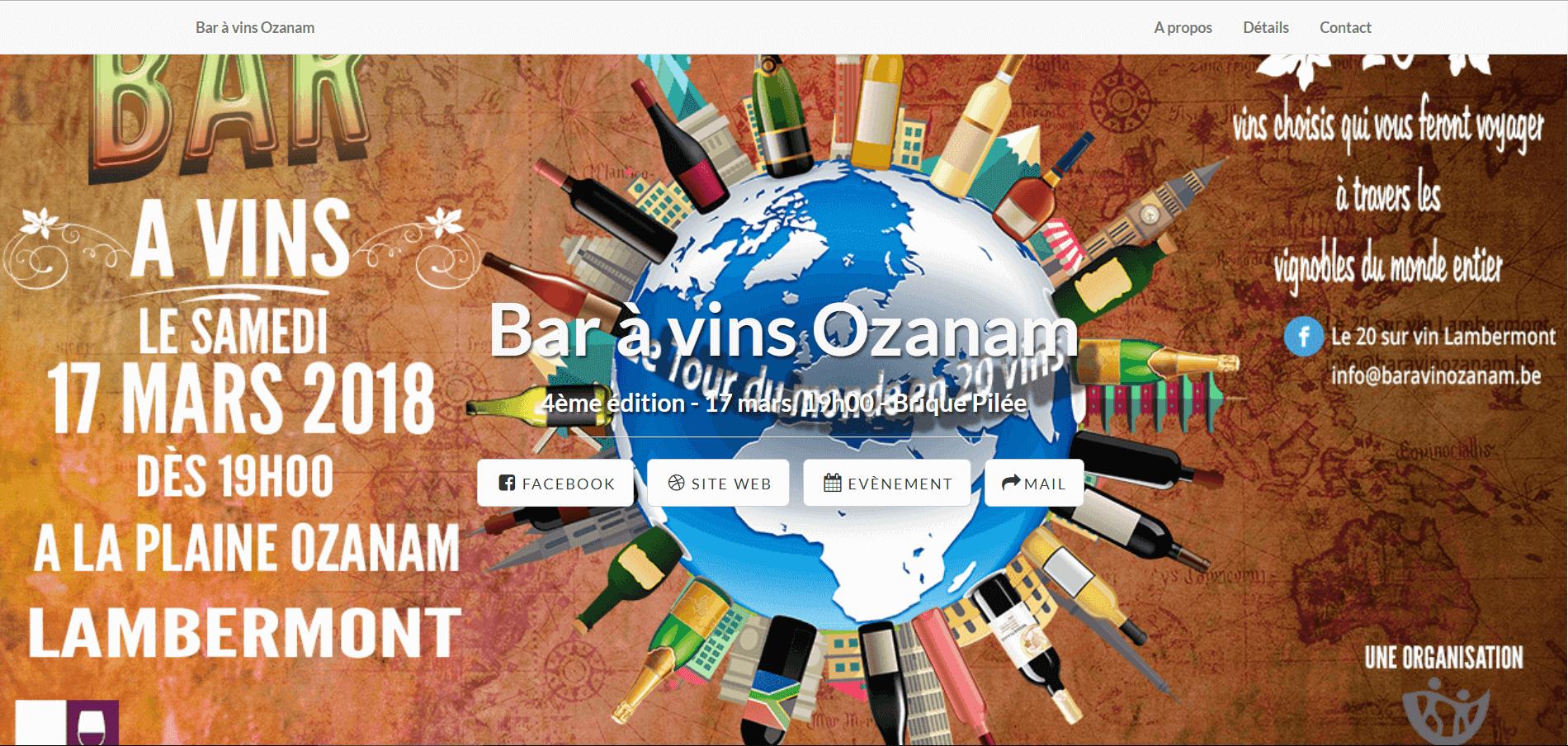 Illustration du site web créé pour le bar à vin Ozanam